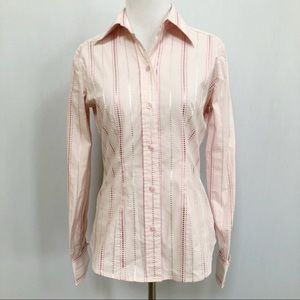 New York & Co pink polka dot stripe button up 518